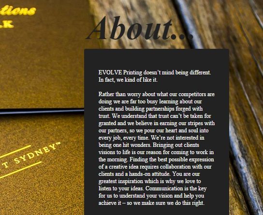 EVOLVE PRINTING ~ evolveprint.com.au ~ ABOUT US